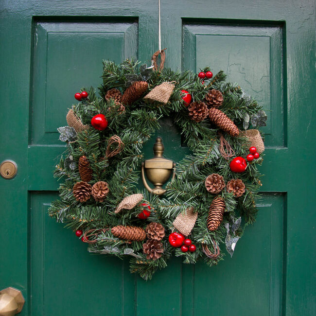 Apple & Pine Cone Red Christmas Wreath