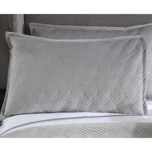 Quilted Hotel Velvet Pillowshams 50 x 75cm - Grey
