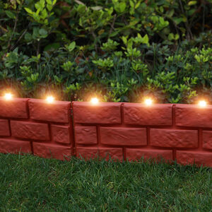 Brick Effect Solar Garden Border Fence