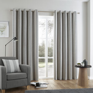 Brushed Stripe Curtain - Grey - Grey 076958