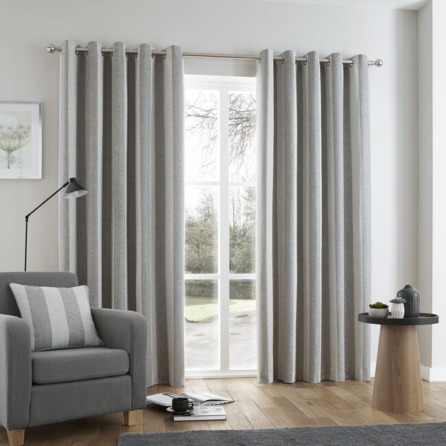 BRUSHED STRIPE GREY 66x54 Curtain