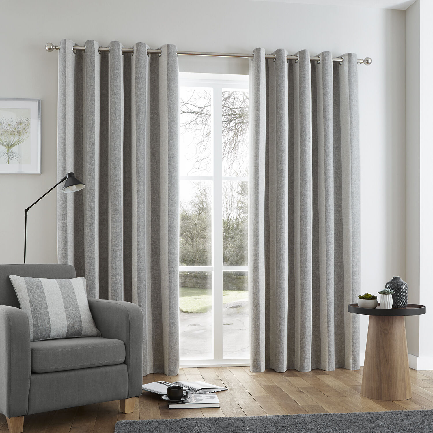 Charmant Brushed Stripe Grey Curtain