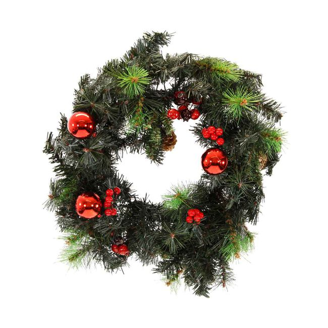 Berry and Pine Cone Christmas Wreath 24""