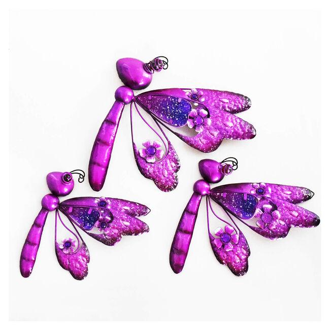 Glitter Dragonflies Garden Wall Art - Set of 3