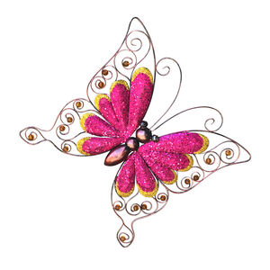 Large Pink Sparkle Butterfly Garden Wall Art