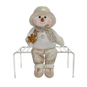 Plush Sitting Snowman - Gold