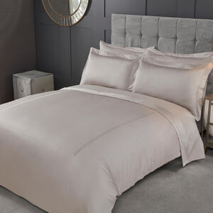 SINGLE DUVET COVER Double Stitch Stone 500tc