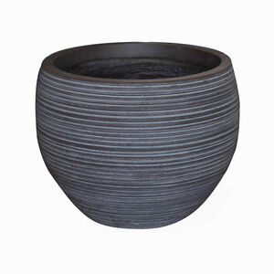Large Round Charcoal Fibre Clay Pot