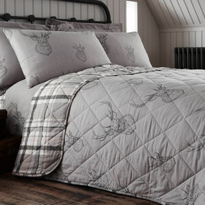 Brushed Cotton Stag Charcoal Bedspread 200cm x 220cm