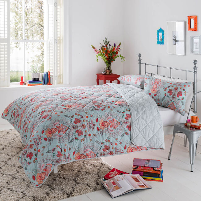 Paisley Duck Egg Bedspread