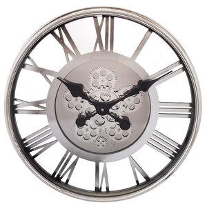 Silver Roman Cogs 54cm Clock