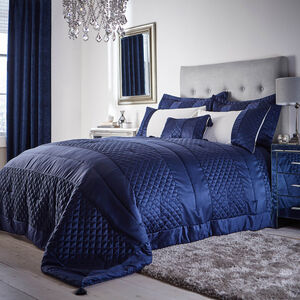 Classic Velvet Navy Bedspread 240cm x 260cm