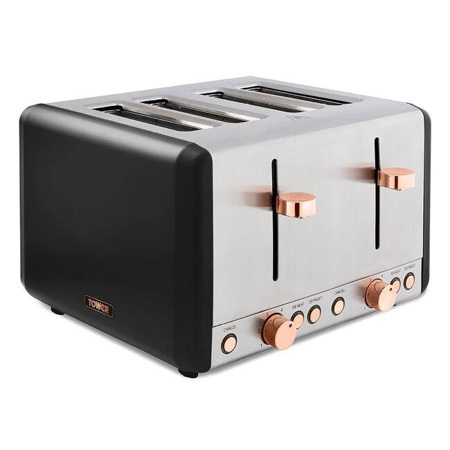 Tower Cavaletto Black 4 Slice Toaster