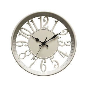 Cream Cutout Time Clock 12""