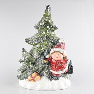 Child at Lightup Christmas Tree Scene