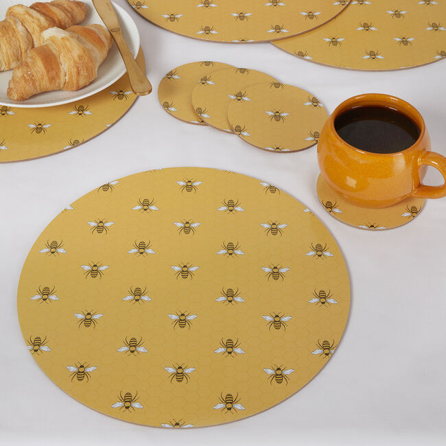 Honey Bees Round Mats & Coasters - 4 Pack