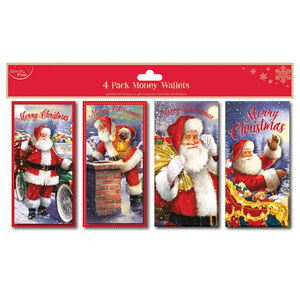 Traditional Santa Money Gift Wallets - 4 Pack