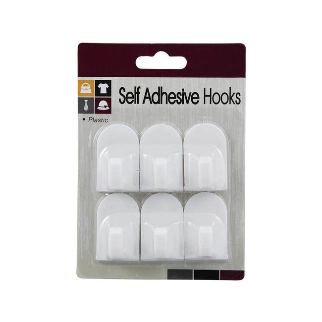 6 Self Adhesive White Hooks 4x2.5cm