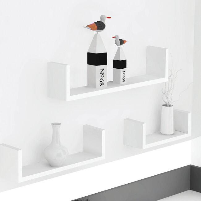 Bergen White 3 Set U-Shape Floating Wall Shelf