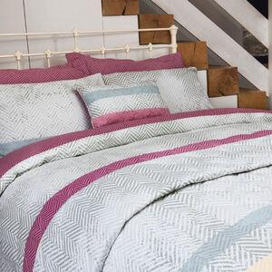 Herringbone Stripe Berry Bedspread 200cm x 220cm