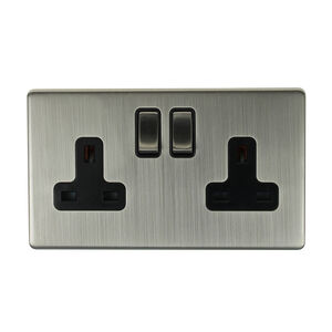 13A 2 Gang Chrome Switched Socket