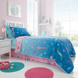 Mermaid Lagoon Bedspread 200 x 220cm - Turquoise