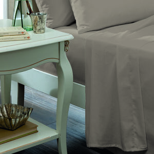 SINGLE FLAT SHEET Luxury Percale Ice Grey