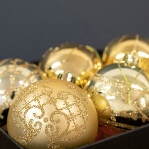 Gold Christmas Baubles - 6 Pack