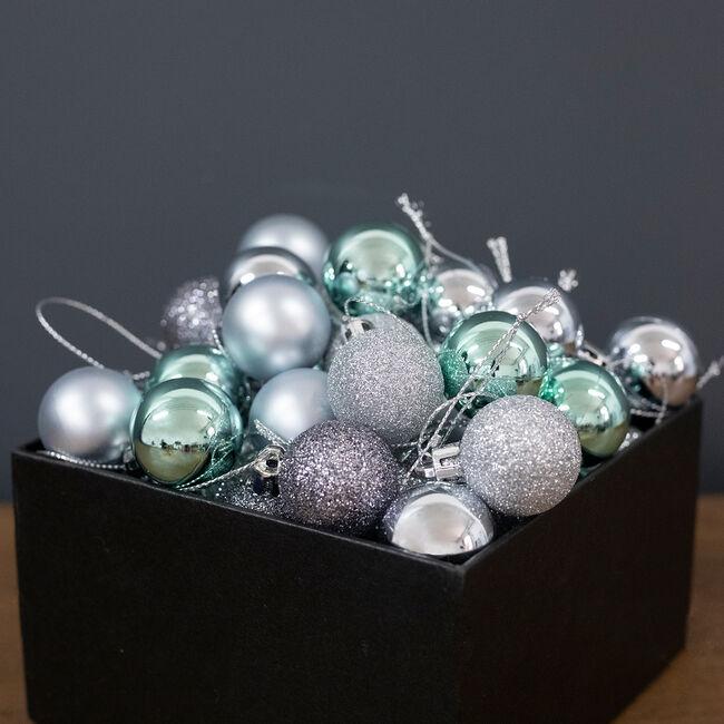 Silver Mini Bauble Set - 49 Pack