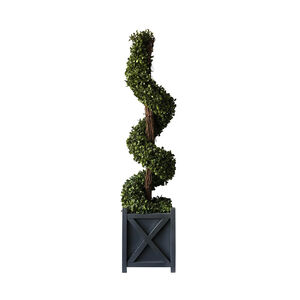 Faux Spiral Boxwood Tree