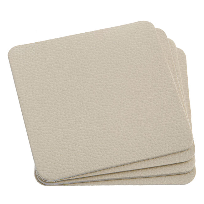Leather Coasters 4 Pack - Cream