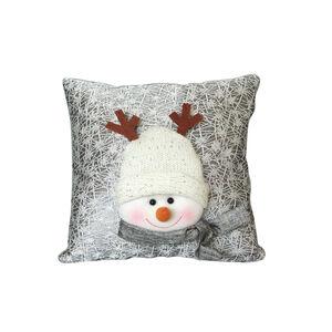 Luxury Silver Snowman Cushion