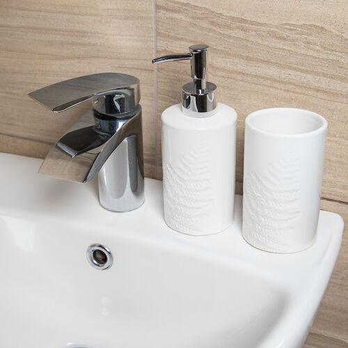 Embossed Leaf Soap Dispenser - White