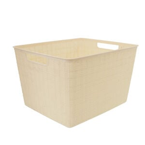 Hessian Cream Storage Basket 18L