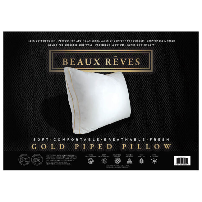 Beaux Reves Gold Piped Pillow