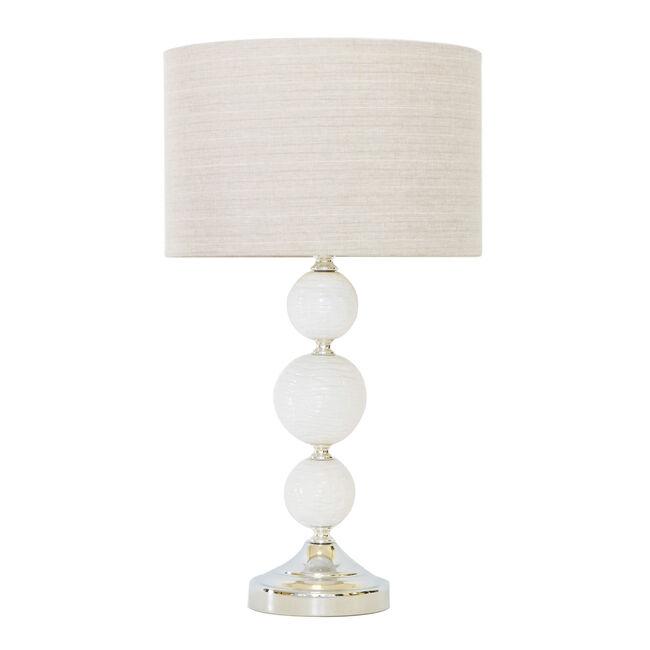 White Glazed Ball Table Lamp