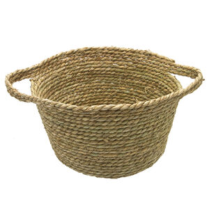 Large Seagrass Basket 37cm w/Wrapped Handle