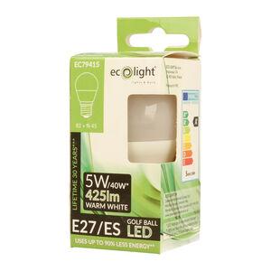 Eco Light 5W Golf Warm White Bulb (E27)