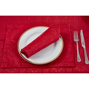 Gatsby Damask Placemat Red - 2 Pack