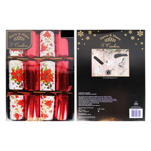 Harvey & Mason 8 Luxury Poinsettia Crackers