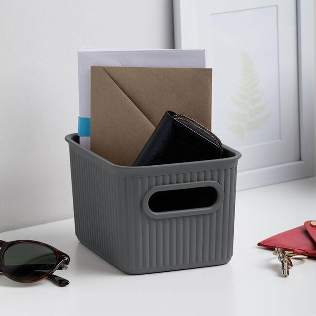 Stripe Storage Basket 1.5L -Grey