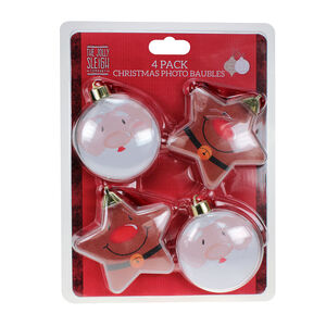 Christmas Photo Baubles 4Pk