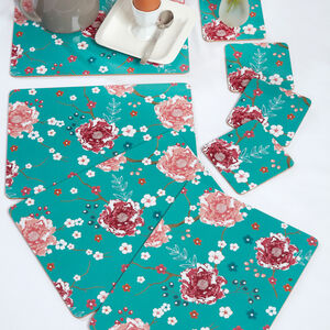 Floral Admiration Teal Mats & Coasters 4 Pack