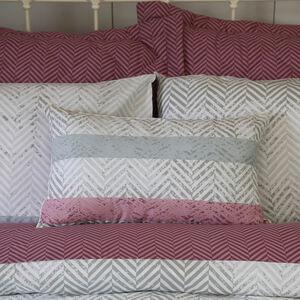Herringbone Stripe Berry Cushion 30cm x 50cm
