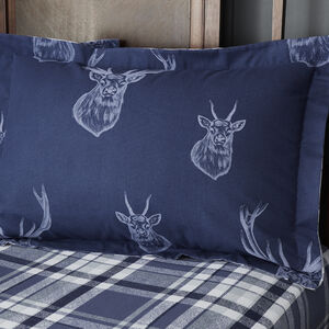 Brushed Cotton Stag Oxford Pillowcase Pair - Navy