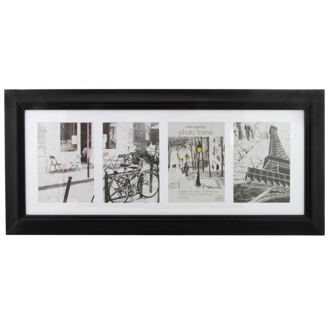 5x7 COLLAGE 4 WINDOWS SIMPLY Black Photo Frame