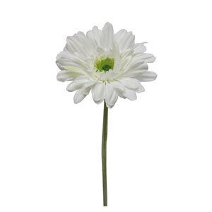 Gerbera Flocked Stem White Flower 43cm