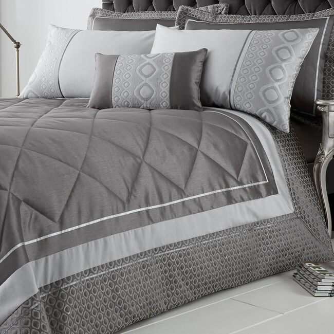 Luxury Geo Silver Bedspread