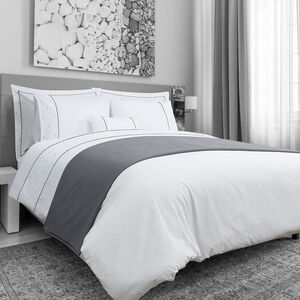 SINGLE DUVET COVER Triangles White/Grey 200tc