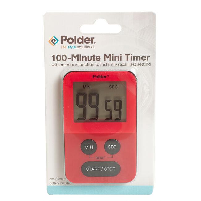 Polder 100 Minute Mini Timer - Red